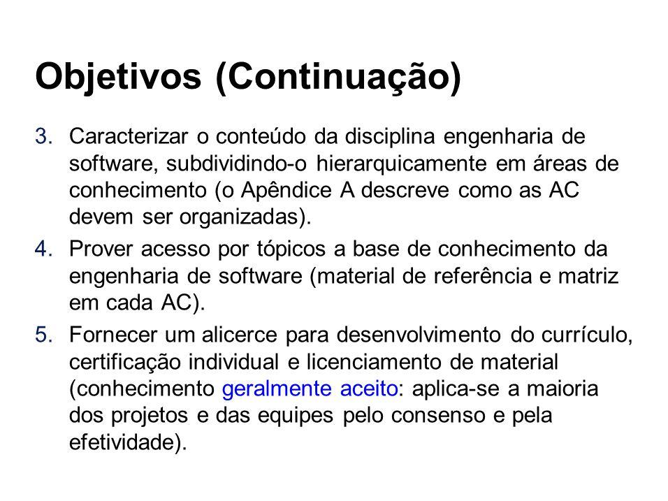 Objetivos (Continuação) 3.Caracterizar o conteúdo da disciplina engenharia de software, subdividindo-o hierarquicamente em áreas de conhecimento (o Ap