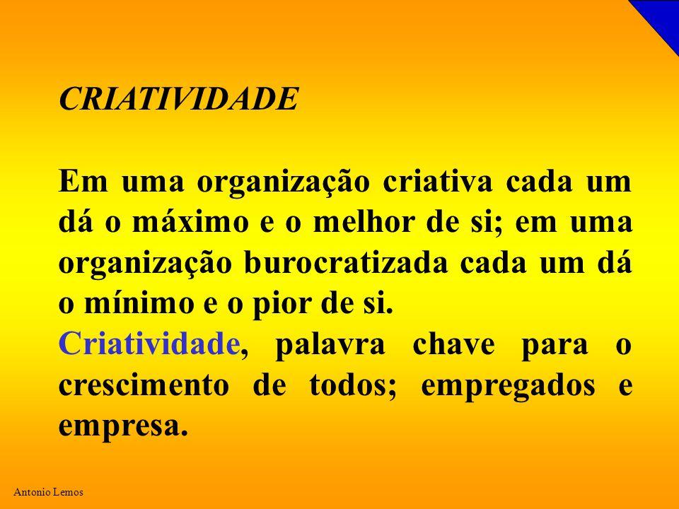 Antonio Lemos CRIATIVIDADE Em uma organização criativa cada um dá o máximo e o melhor de si; em uma organização burocratizada cada um dá o mínimo e o