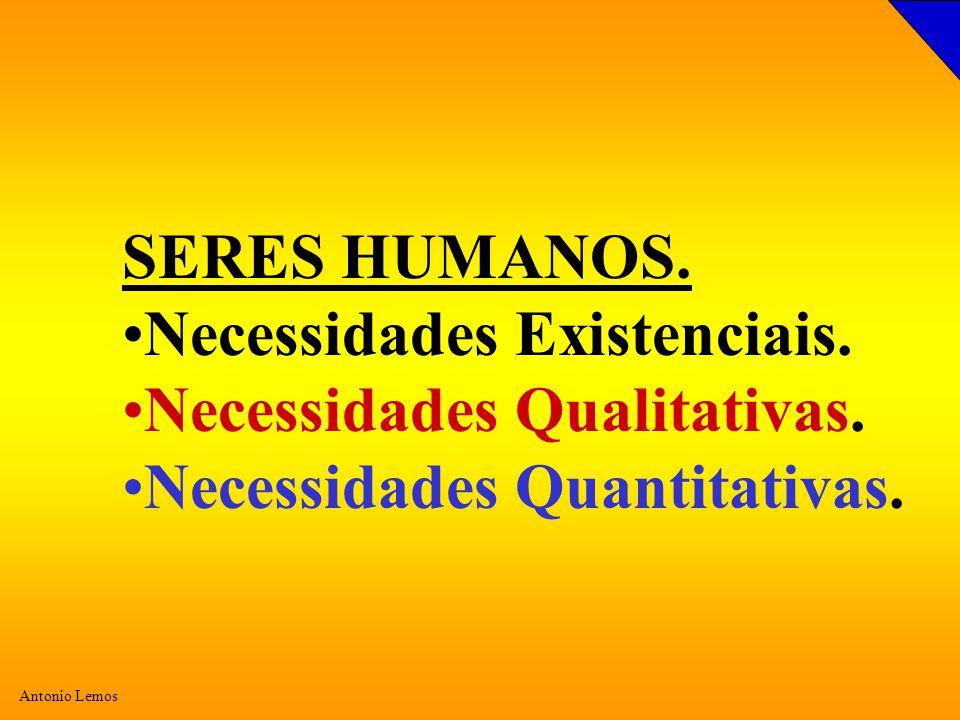 Antonio Lemos SERES HUMANOS. Necessidades Existenciais. Necessidades Qualitativas. Necessidades Quantitativas.