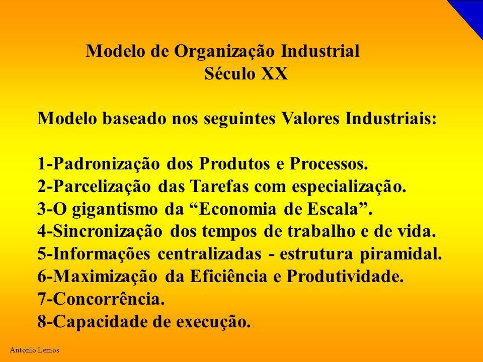 Antonio Lemos Modelo de Organização Industrial Século XX Modelo baseado nos seguintes Valores Industriais: 1-Padronização dos Produtos e Processos.