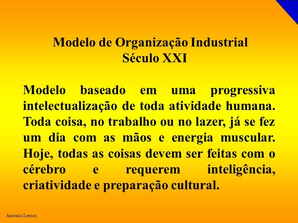 Antonio Lemos Modelo de Organização Industrial Século XXI Modelo baseado em uma progressiva intelectualização de toda atividade humana. Toda coisa, no