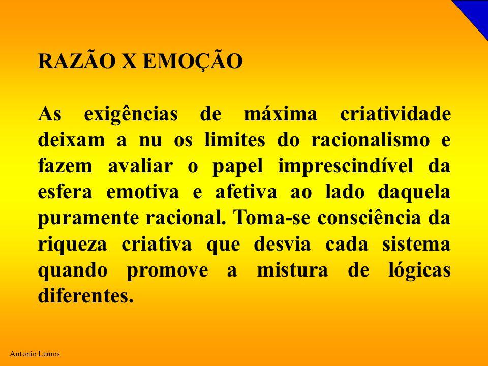 Antonio Lemos RAZÃO X EMOÇÃO As exigências de máxima criatividade deixam a nu os limites do racionalismo e fazem avaliar o papel imprescindível da esfera emotiva e afetiva ao lado daquela puramente racional.
