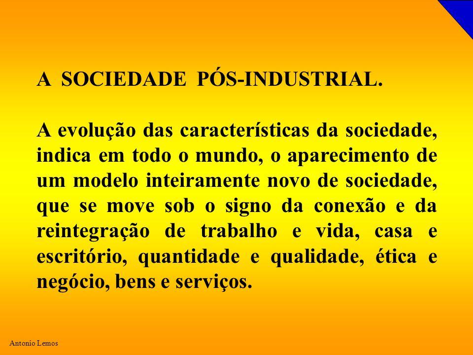 Antonio Lemos A SOCIEDADE PÓS-INDUSTRIAL. A evolução das características da sociedade, indica em todo o mundo, o aparecimento de um modelo inteirament