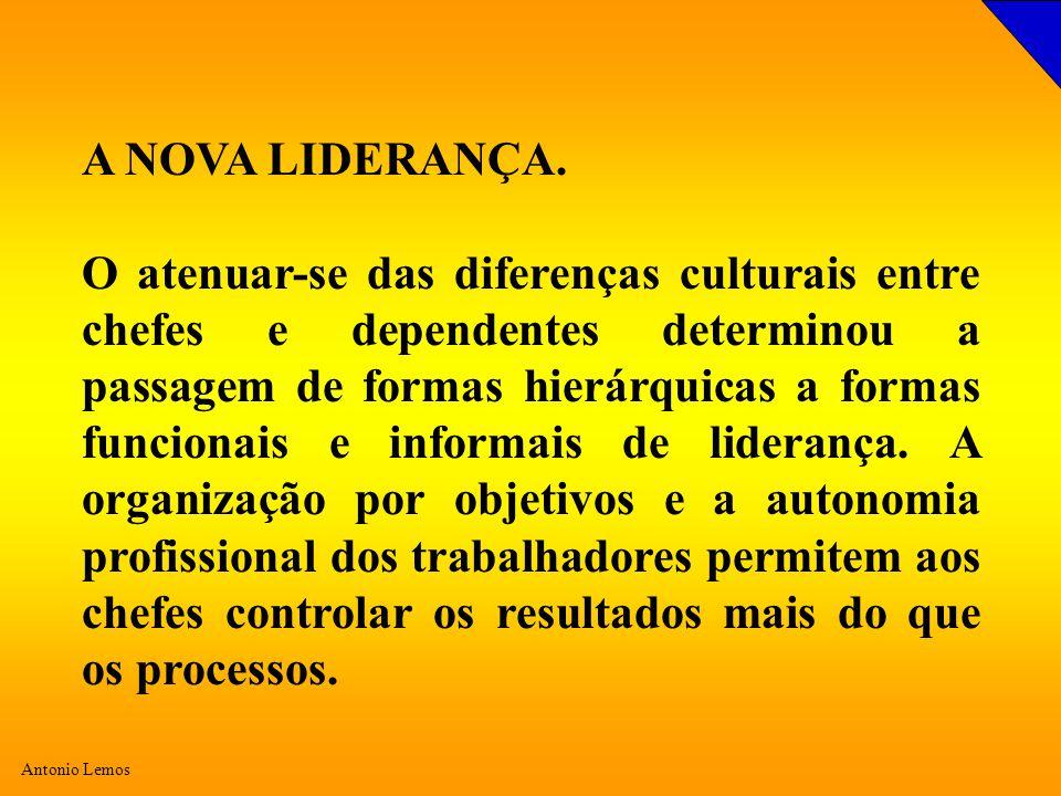 Antonio Lemos A NOVA LIDERANÇA. O atenuar-se das diferenças culturais entre chefes e dependentes determinou a passagem de formas hierárquicas a formas