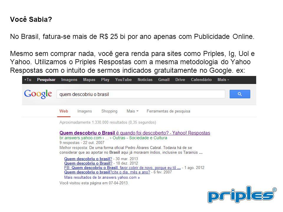 Você Sabia? No Brasil, fatura-se mais de R$ 25 bi por ano apenas com Publicidade Online. Mesmo sem comprar nada, você gera renda para sites como Pripl
