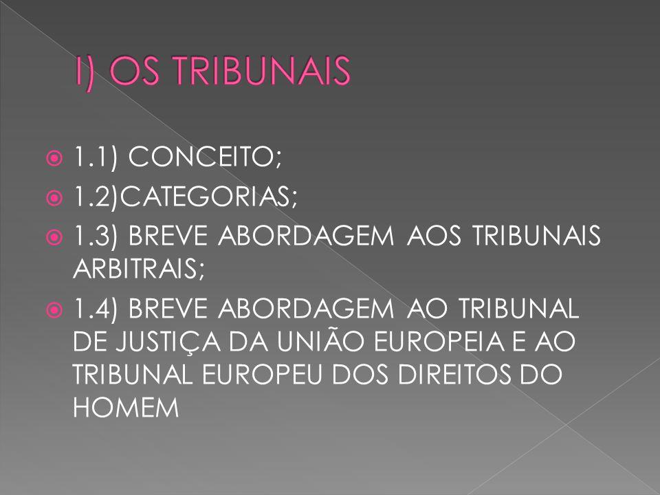1.1) CONCEITO; 1.2)CATEGORIAS; 1.3) BREVE ABORDAGEM AOS TRIBUNAIS ARBITRAIS; 1.4) BREVE ABORDAGEM AO TRIBUNAL DE JUSTIÇA DA UNIÃO EUROPEIA E AO TRIBUNAL EUROPEU DOS DIREITOS DO HOMEM