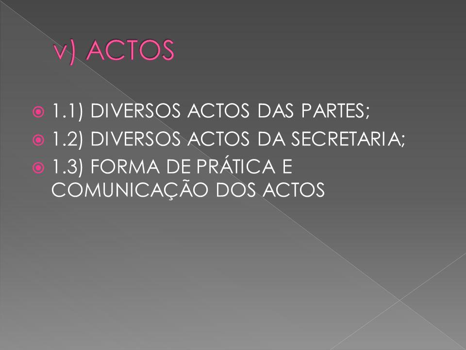 1.1) DIVERSOS ACTOS DAS PARTES; 1.2) DIVERSOS ACTOS DA SECRETARIA; 1.3) FORMA DE PRÁTICA E COMUNICAÇÃO DOS ACTOS
