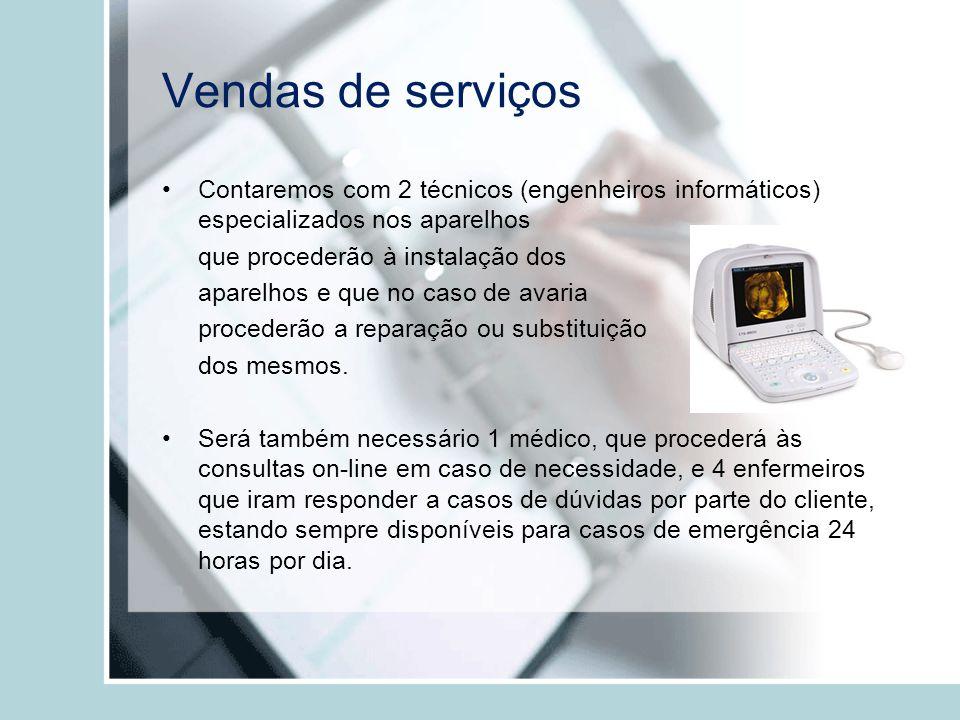 Vendas de serviços Contaremos com 2 técnicos (engenheiros informáticos) especializados nos aparelhos que procederão à instalação dos aparelhos e que n