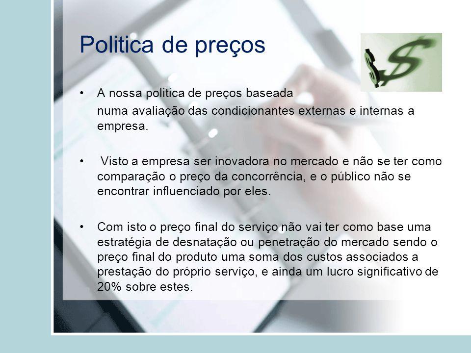 Politica de preços A nossa politica de preços baseada numa avaliação das condicionantes externas e internas a empresa. Visto a empresa ser inovadora n