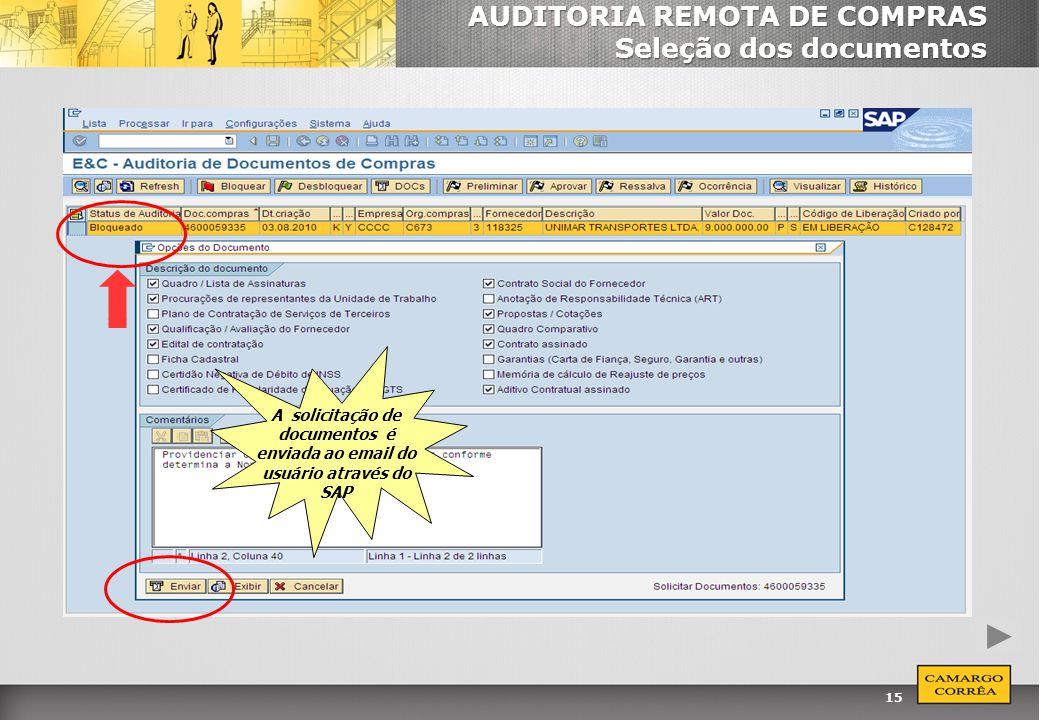 15 AUDITORIA REMOTA DE COMPRAS Seleção dos documentos A solicitação de documentos é enviada ao email do usuário através do SAP