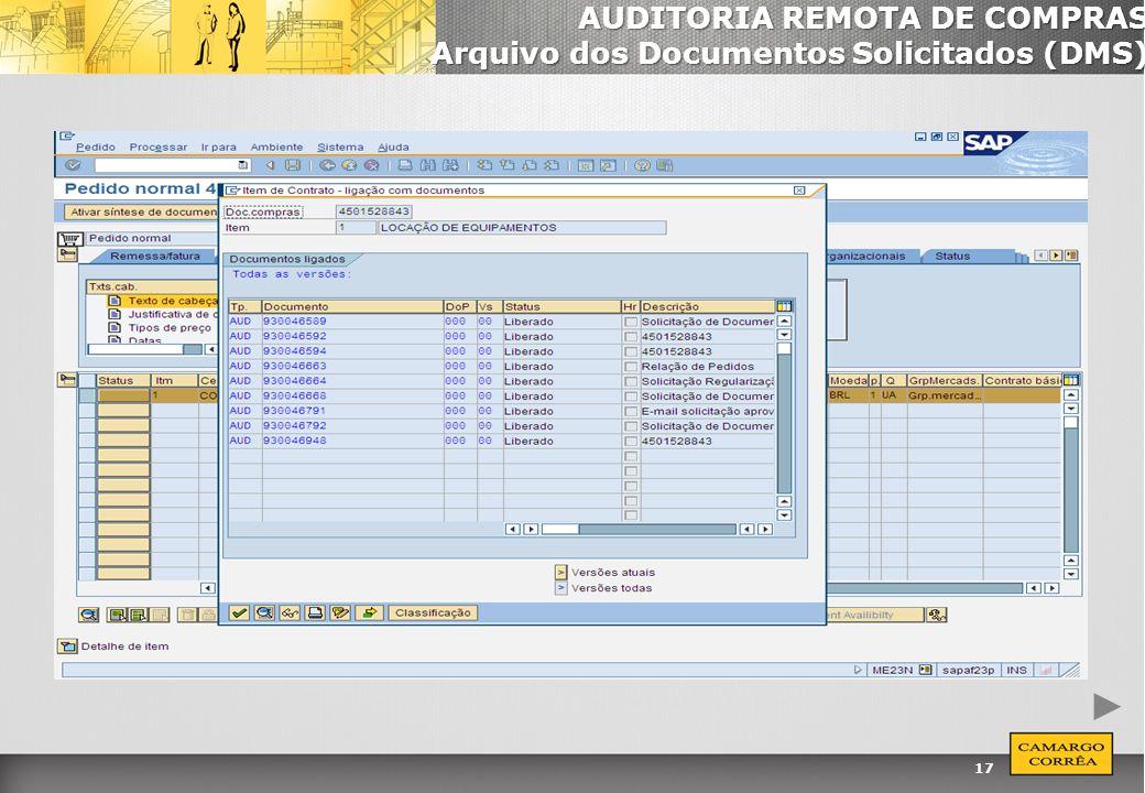 17 AUDITORIA REMOTA DE COMPRAS Arquivo dos Documentos Solicitados (DMS)