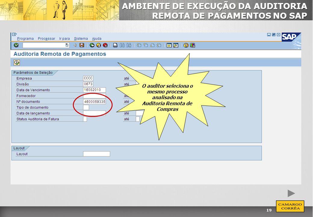 19 AMBIENTE DE EXECUÇÃO DA AUDITORIA REMOTA DE PAGAMENTOS NO SAP O auditor seleciona o mesmo processo analisado na Auditoria Remota de Compras