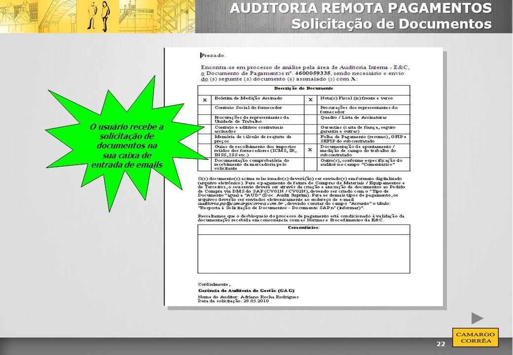 22 AUDITORIA REMOTA PAGAMENTOS Solicitação de Documentos O usuário recebe a solicitação de documentos na sua caixa de entrada de emails