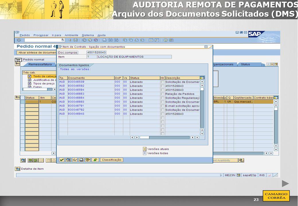 23 AUDITORIA REMOTA DE PAGAMENTOS Arquivo dos Documentos Solicitados (DMS)