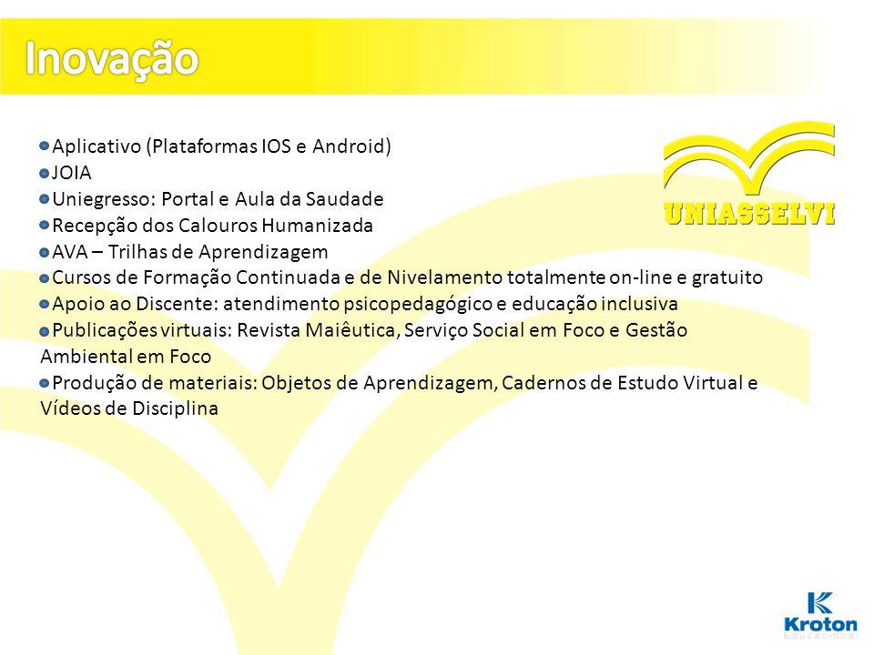 - Aplicativo (Plataformas IOS e Android) - JOIA - Uniegresso: Portal e Aula da Saudade - Recepção dos Calouros Humanizada - AVA – Trilhas de Aprendiza