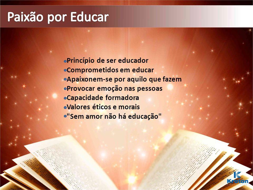 Princípio de ser educador Comprometidos em educar Apaixonem-se por aquilo que fazem Provocar emoção nas pessoas Capacidade formadora Valores éticos e