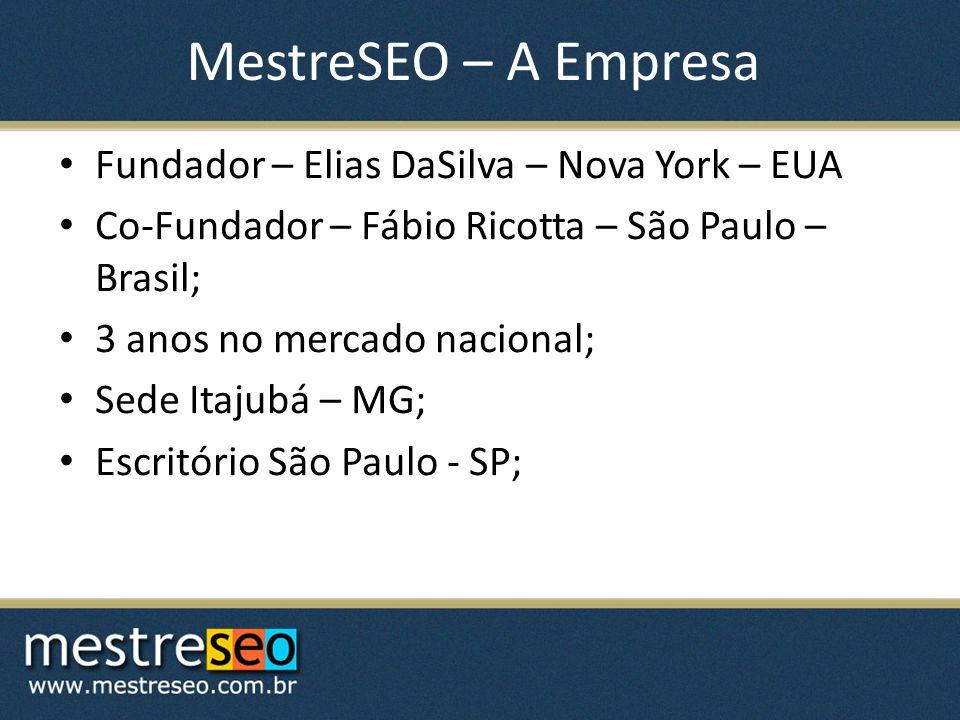 MestreSEO – A Empresa Fundador – Elias DaSilva – Nova York – EUA Co-Fundador – Fábio Ricotta – São Paulo – Brasil; 3 anos no mercado nacional; Sede Itajubá – MG; Escritório São Paulo - SP;