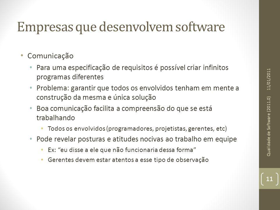 Empresas que desenvolvem software Comunicação Para uma especificação de requisitos é possível criar infinitos programas diferentes Problema: garantir