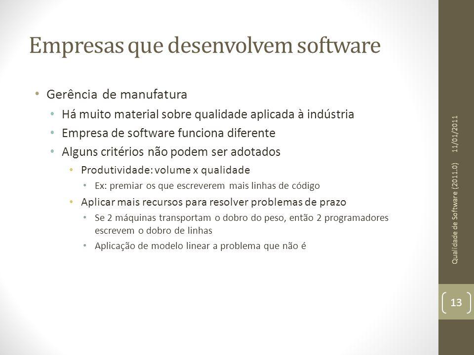 Empresas que desenvolvem software Gerência de manufatura Há muito material sobre qualidade aplicada à indústria Empresa de software funciona diferente