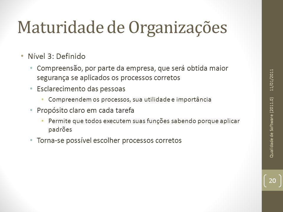 Maturidade de Organizações Nível 3: Definido Compreensão, por parte da empresa, que será obtida maior segurança se aplicados os processos corretos Esc