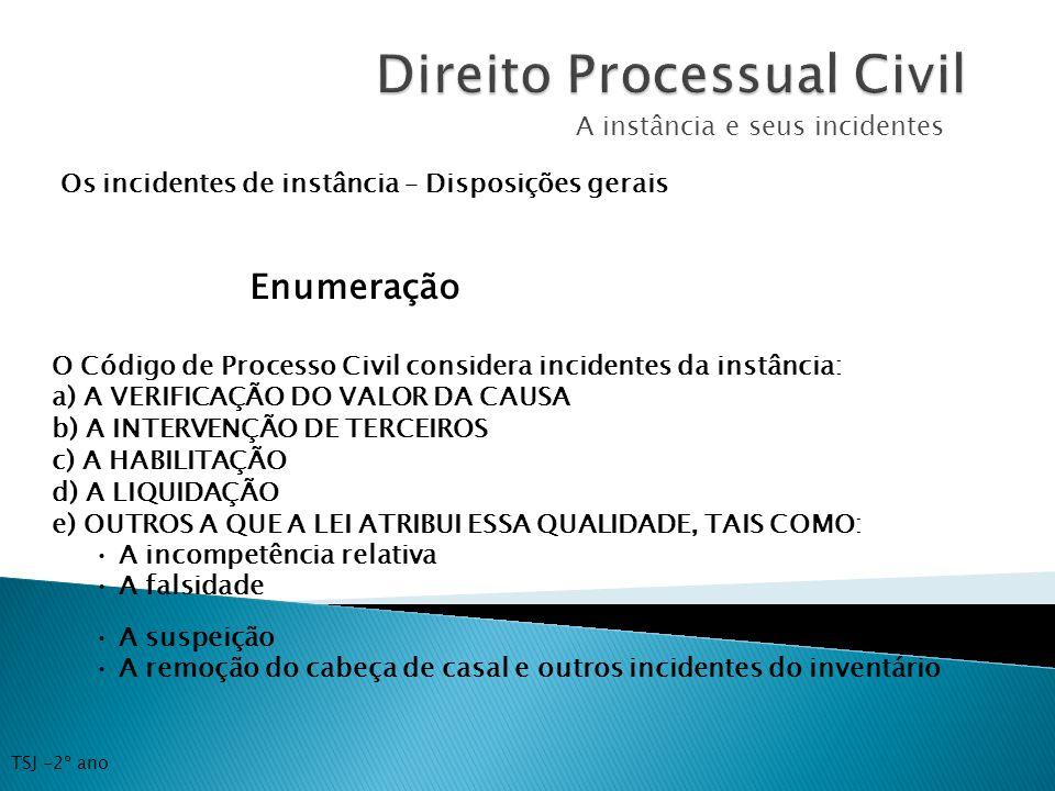 A instância e seus incidentes Os incidentes de instância – Disposições gerais Enumeração O Código de Processo Civil considera incidentes da instância: