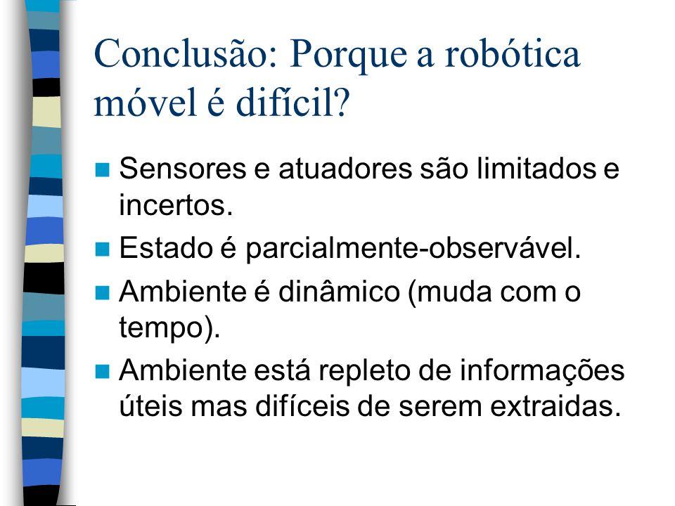 Conclusão: Porque a robótica móvel é difícil? Sensores e atuadores são limitados e incertos. Estado é parcialmente-observável. Ambiente é dinâmico (mu