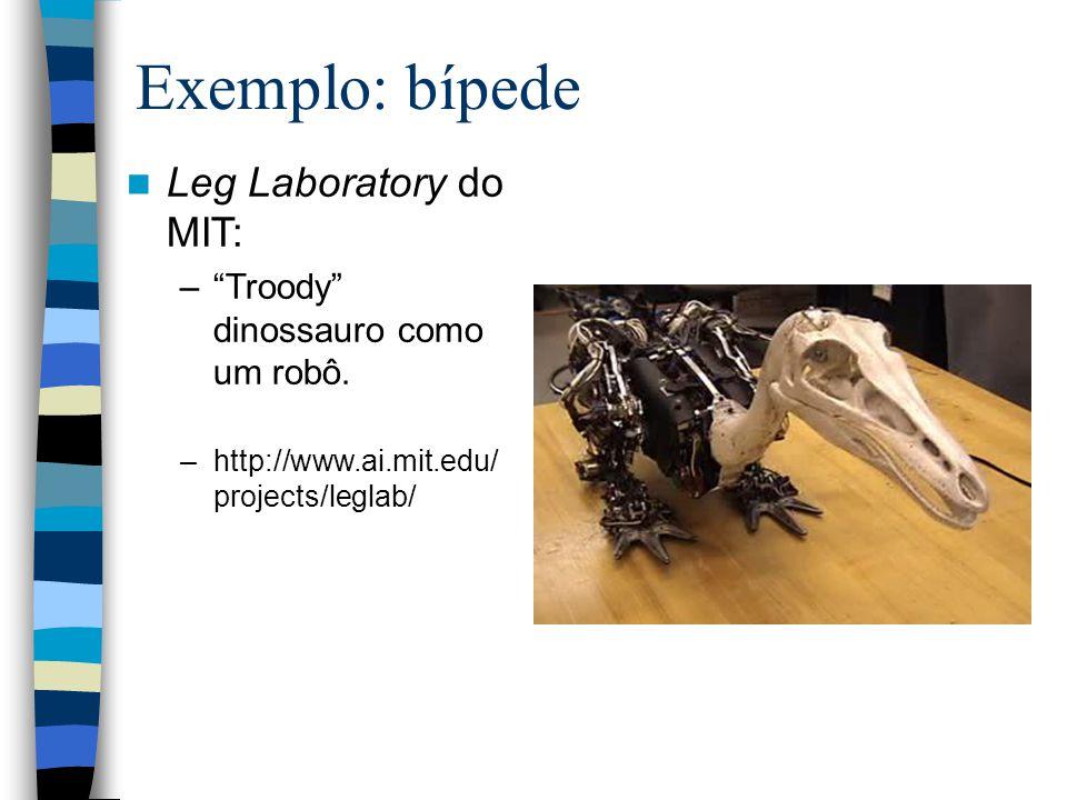Exemplo: bípede Leg Laboratory do MIT: –Troody dinossauro como um robô. –http://www.ai.mit.edu/ projects/leglab/