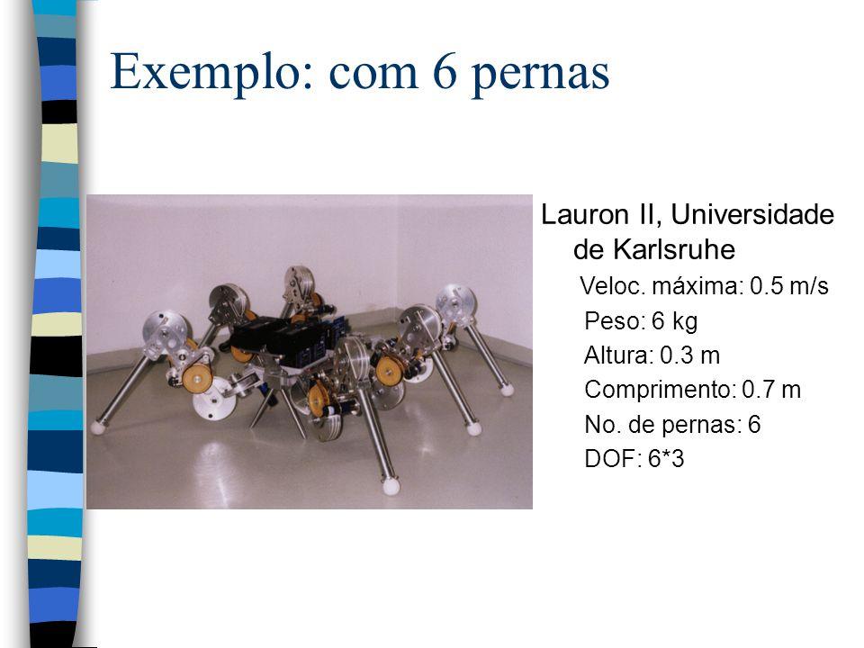 Lauron II, Universidade de Karlsruhe Veloc. máxima: 0.5 m/s Peso: 6 kg Altura: 0.3 m Comprimento: 0.7 m No. de pernas: 6 DOF: 6*3 Exemplo: com 6 perna