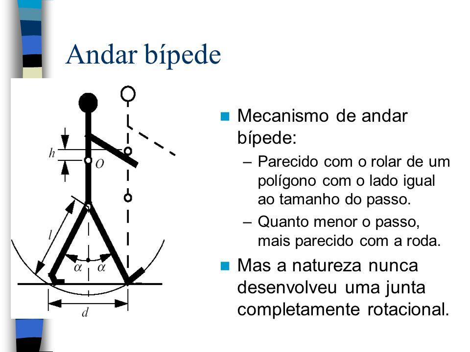 Andar bípede Mecanismo de andar bípede: –Parecido com o rolar de um polígono com o lado igual ao tamanho do passo. –Quanto menor o passo, mais parecid