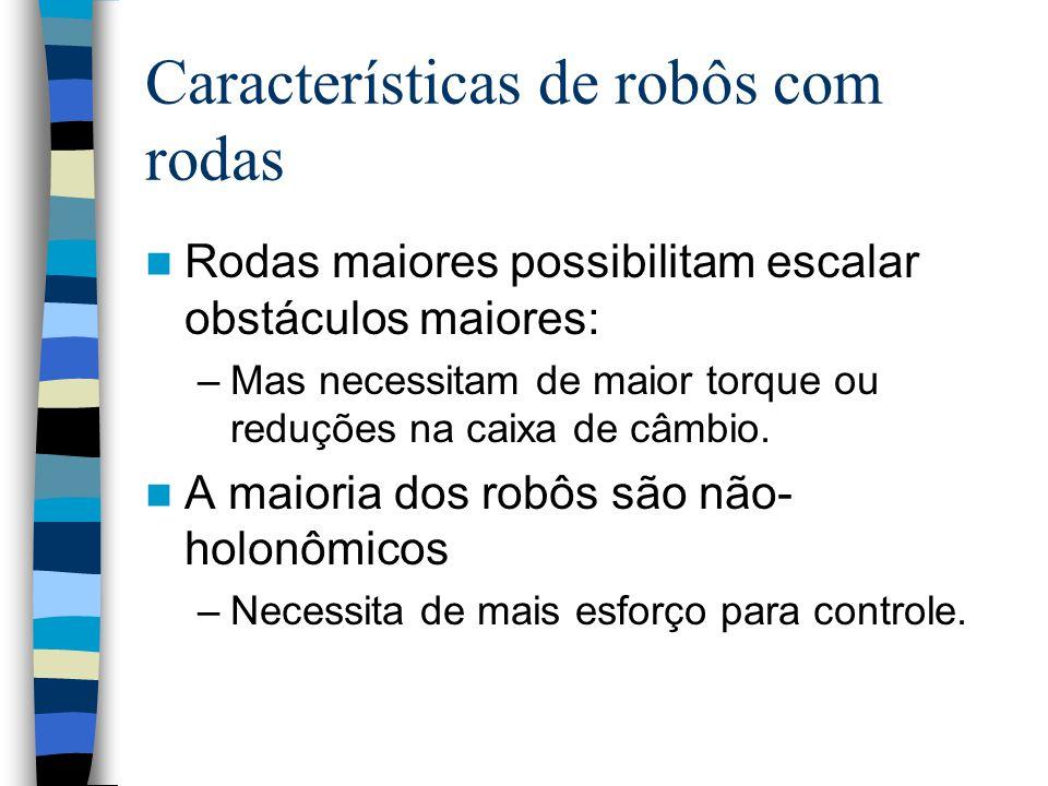 Características de robôs com rodas Rodas maiores possibilitam escalar obstáculos maiores: –Mas necessitam de maior torque ou reduções na caixa de câmb