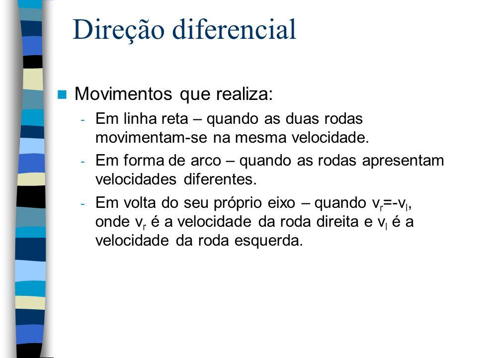 Direção diferencial Movimentos que realiza: - Em linha reta – quando as duas rodas movimentam-se na mesma velocidade. - Em forma de arco – quando as r