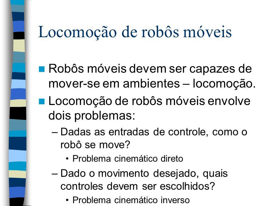 55 Navegação de robôs móveis A navegação de robôs móveis está relacionada com a realização de três tarefas: –Localização – o robô encontrar sua própria posição no ambiente.