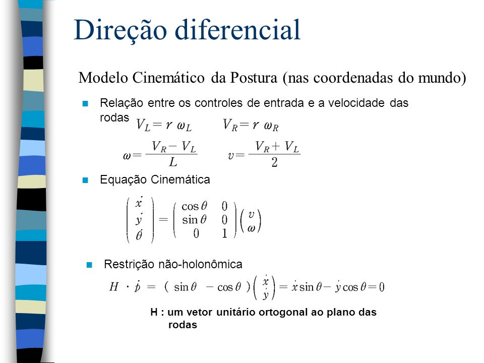 Direção diferencial Restrição não-holonômica Equação Cinemática H : um vetor unitário ortogonal ao plano das rodas Relação entre os controles de entra