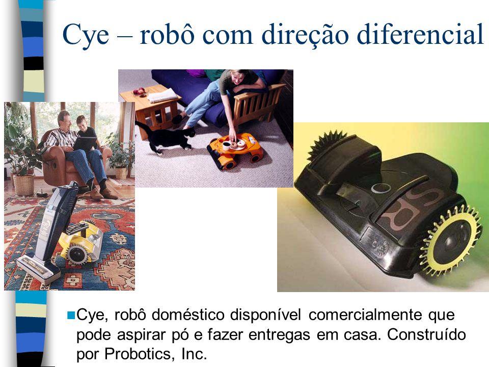 Cye – robô com direção diferencial Cye, robô doméstico disponível comercialmente que pode aspirar pó e fazer entregas em casa. Construído por Probotic