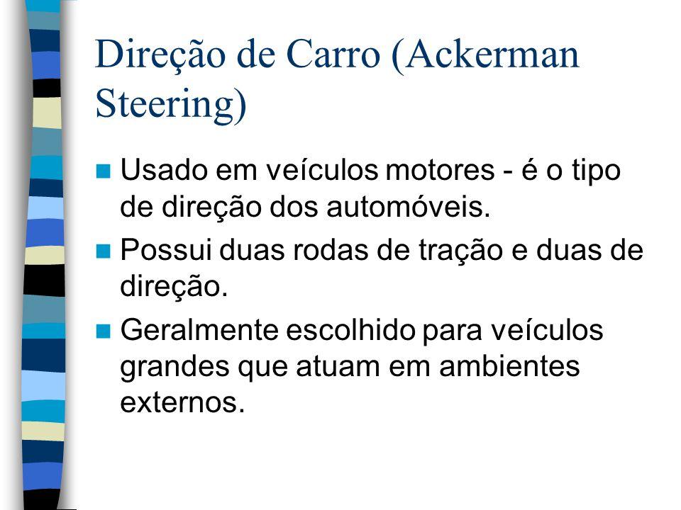 Direção de Carro (Ackerman Steering) Usado em veículos motores - é o tipo de direção dos automóveis. Possui duas rodas de tração e duas de direção. Ge