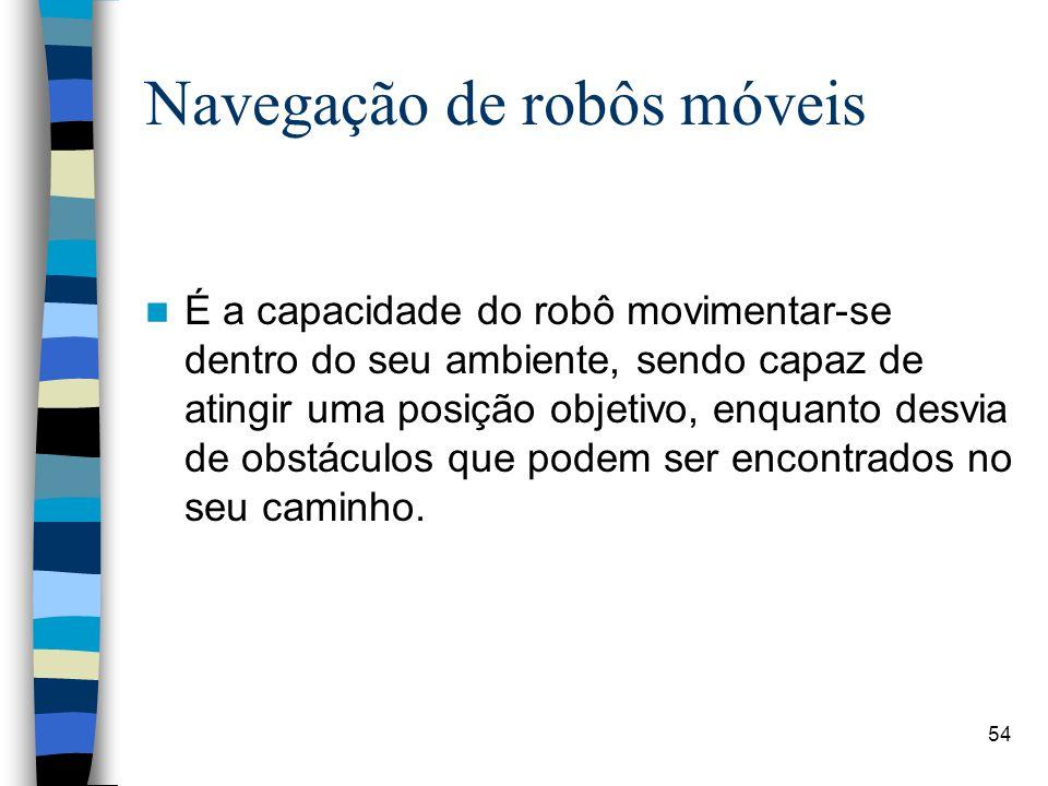 54 Navegação de robôs móveis É a capacidade do robô movimentar-se dentro do seu ambiente, sendo capaz de atingir uma posição objetivo, enquanto desvia