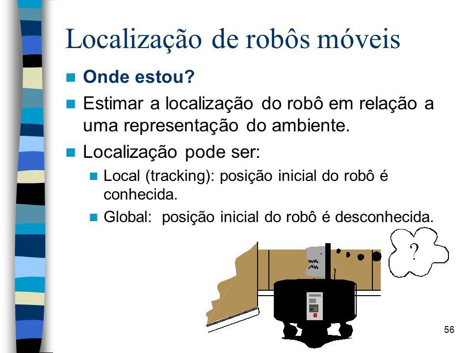 56 Localização de robôs móveis Onde estou? Estimar a localização do robô em relação a uma representação do ambiente. Localização pode ser: Local (trac
