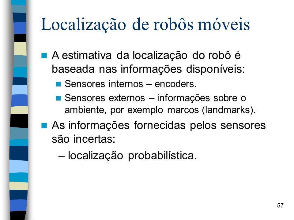 57 Localização de robôs móveis A estimativa da localização do robô é baseada nas informações disponíveis: Sensores internos – encoders. Sensores exter