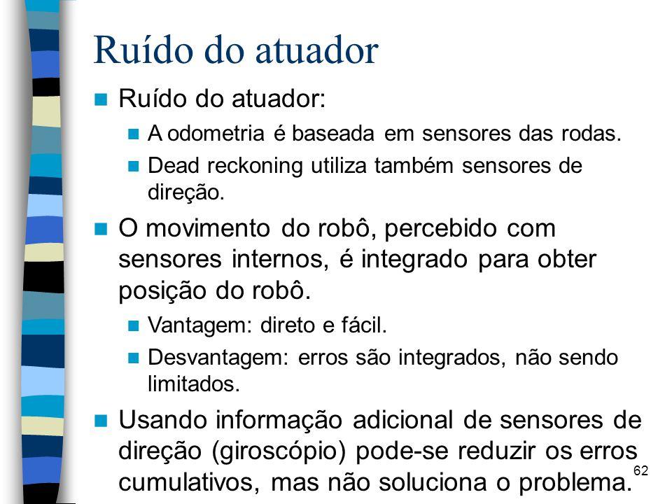 62 Ruído do atuador Ruído do atuador: A odometria é baseada em sensores das rodas. Dead reckoning utiliza também sensores de direção. O movimento do r