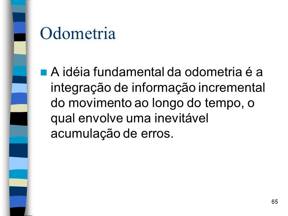 Odometria A idéia fundamental da odometria é a integração de informação incremental do movimento ao longo do tempo, o qual envolve uma inevitável acum