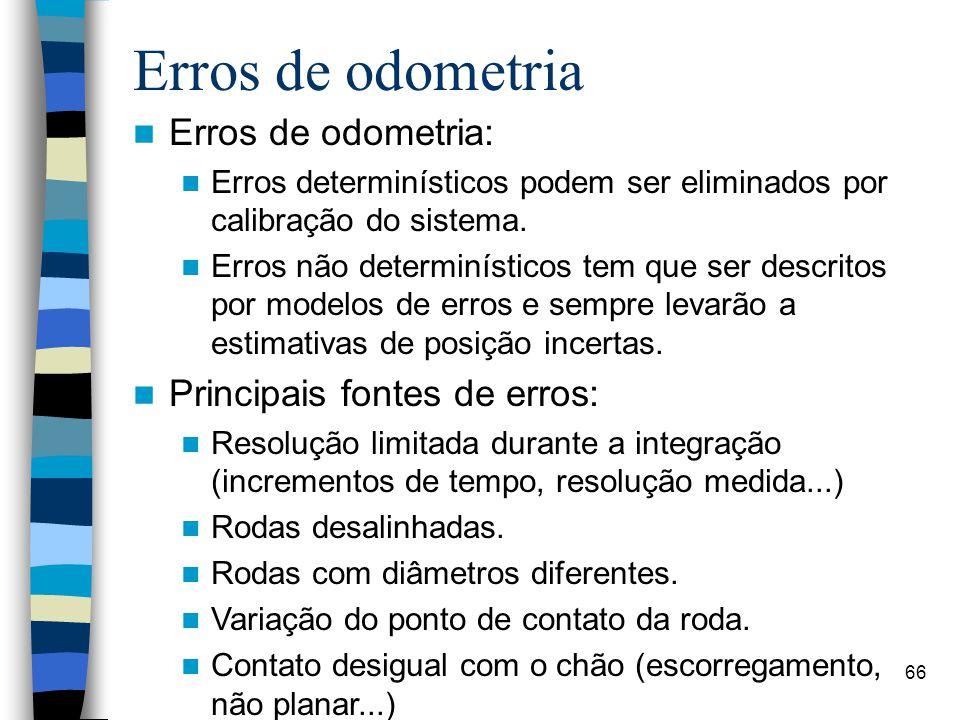 66 Erros de odometria Erros de odometria: Erros determinísticos podem ser eliminados por calibração do sistema. Erros não determinísticos tem que ser