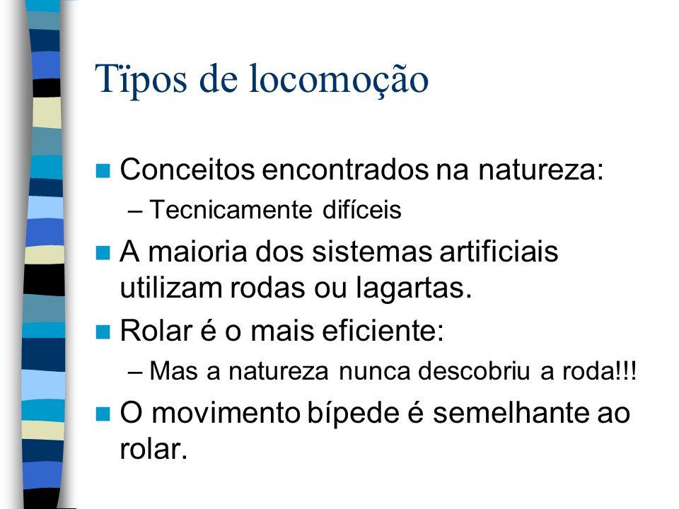 Tïpos de locomoção Conceitos encontrados na natureza: –Tecnicamente difíceis A maioria dos sistemas artificiais utilizam rodas ou lagartas. Rolar é o