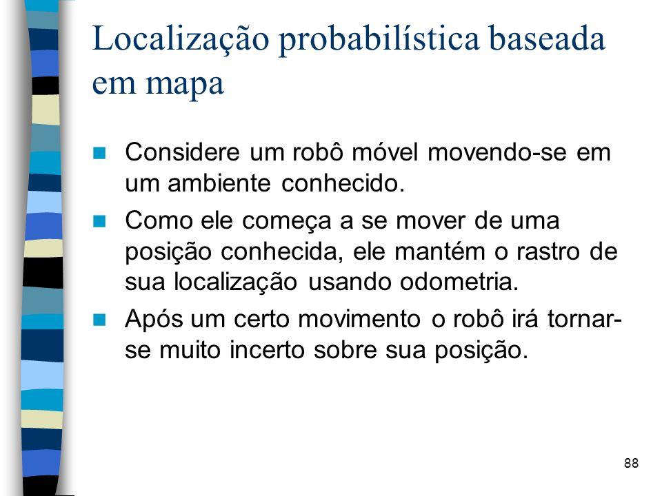 88 Localização probabilística baseada em mapa Considere um robô móvel movendo-se em um ambiente conhecido. Como ele começa a se mover de uma posição c