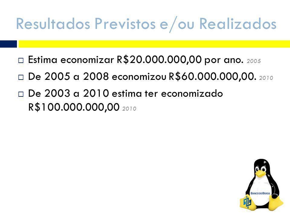 Resultados Previstos e/ou Realizados Estima economizar R$20.000.000,00 por ano. 2005 De 2005 a 2008 economizou R$60.000.000,00. 2010 De 2003 a 2010 es