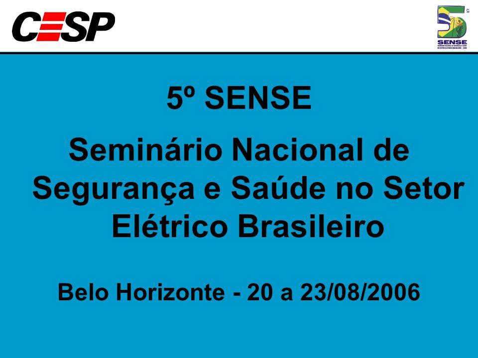 5º SENSE Seminário Nacional de Segurança e Saúde no Setor Elétrico Brasileiro Belo Horizonte - 20 a 23/08/2006