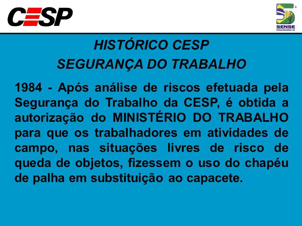 HISTÓRICO CESP SEGURANÇA DO TRABALHO 1984 - Após análise de riscos efetuada pela Segurança do Trabalho da CESP, é obtida a autorização do MINISTÉRIO D