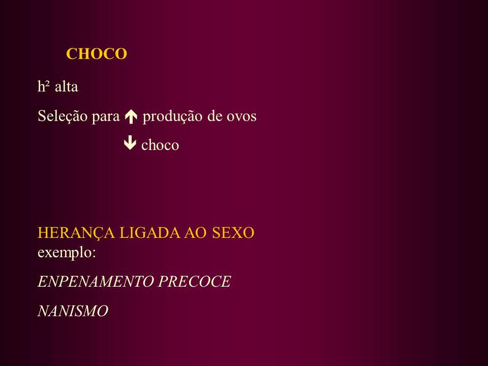 CHOCO h² alta Seleção para produção de ovos choco HERANÇA LIGADA AO SEXO exemplo: ENPENAMENTO PRECOCE NANISMO