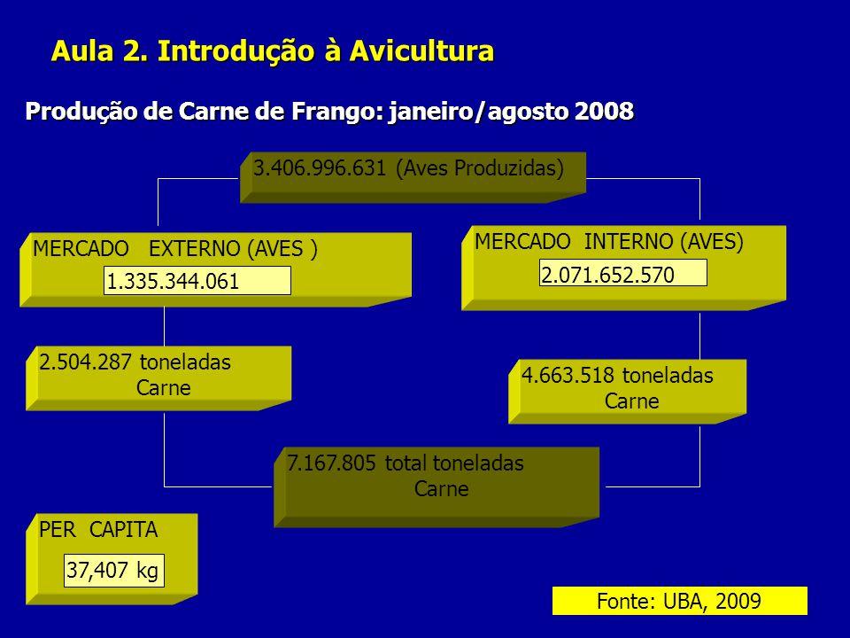 Aula 2. Introdução à Avicultura Produção de Carne de Frango: janeiro/agosto 2008 3.406.996.631 (Aves Produzidas) MERCADO EXTERNO (AVES ) 1.335.344.061