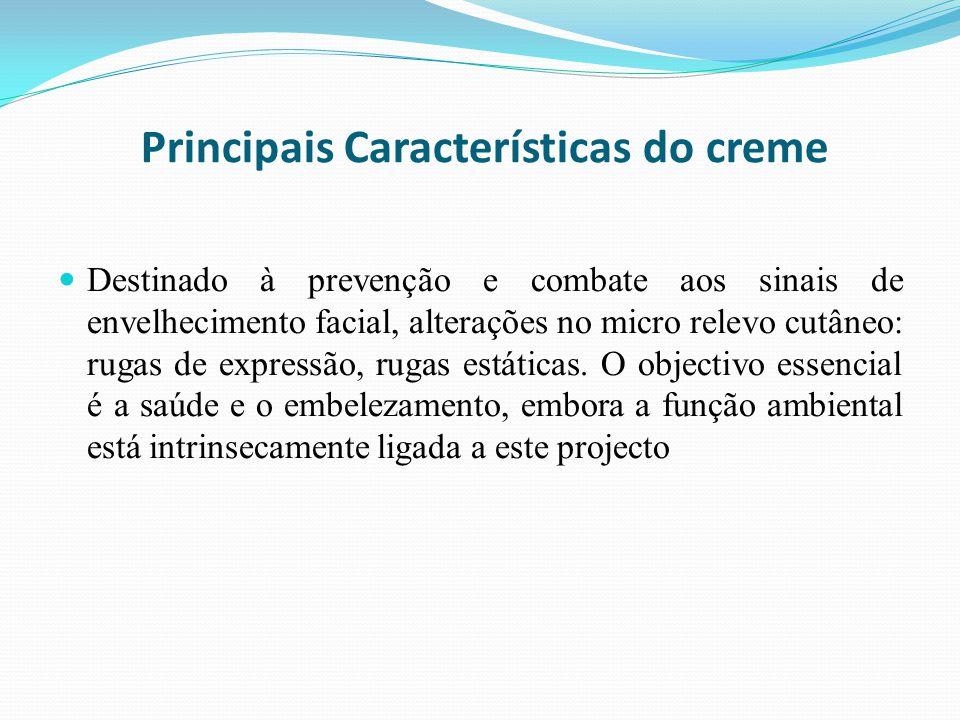 Principais Características do creme Destinado à prevenção e combate aos sinais de envelhecimento facial, alterações no micro relevo cutâneo: rugas de