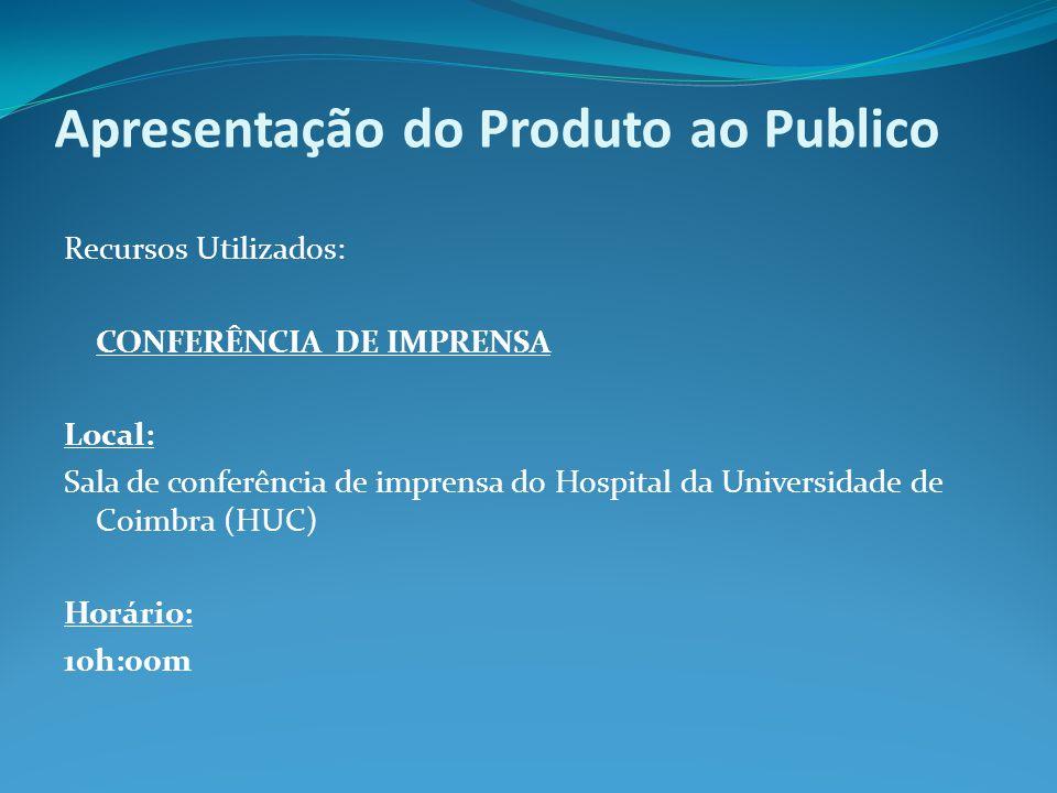 Apresentação do Produto ao Publico Recursos Utilizados: CONFERÊNCIA DE IMPRENSA Local: Sala de conferência de imprensa do Hospital da Universidade de